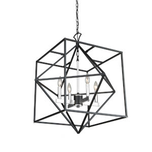 Roxton Matte Black and Polished Nickel Four-Light Chandelier