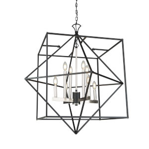 Roxton Matte Black and Polished Nickel Eight-Light Chandelier