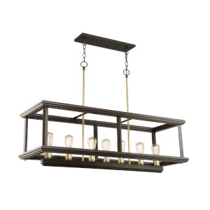 Sandalwood Satin Brass 28-Inch Seven-Light Island Pendant