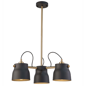Euro Industrial Matte Black and Harvest Brass Three-Light Chandelier
