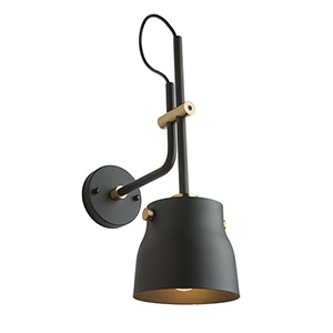 Euro Industrial Matte Black and Harvest Brass One-Light Wall Sconce
