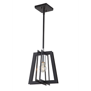 Carlton Matte Black and Polished Nickel One-Light Mini Pendant