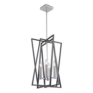 Middleton Matte Black and Polished Chrome Four-Light Geometric Chandelier
