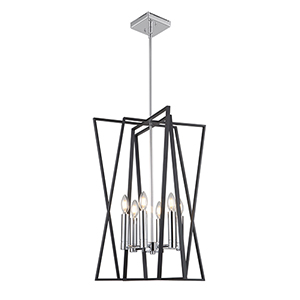 Middleton Matte Black and Polished Chrome Six-Light Geometric Chandelier
