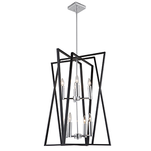 Middleton Matte Black and Polished Chrome Eight-Light Geometric Chandelier