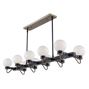 Chelton Matte Black and Harvest Brass 10-Light Pendant