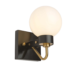 Chelton Matte Black and Harvest Brass Five-Inch One-Light Wall Sconce