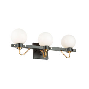 Chelton Matte Black and Harvest Brass 23-Inch Three-Light Bath Vanity with Glossy White Glass