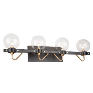 Chelton Matte Black and Harvest Brass 32-Inch Four-Light Bath Vanity with Clear Glass