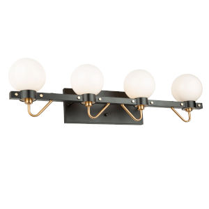 Chelton Matte Black and Harvest Brass 32-Inch Four-Light Bath Vanity with Glossy White Glass
