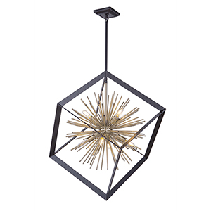 Sunburst Matte Black and Satin Brass Eight-Light Chandelier
