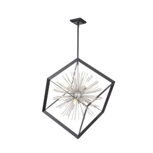 Sunburst Matte Black and Chrome Eight-Light Chandelier