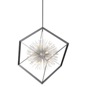 Sunburst Matte Black and Chrome 12-Light Chandelier