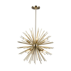 Sunburst Satin Brass Eight-Light Chandelier