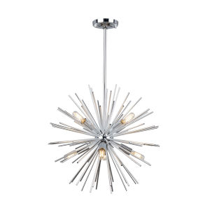 Sunburst Chrome Eight-Light Chandelier