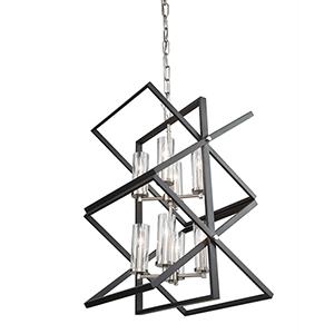 Vissini Matte Black and Polished Nickel Eight-Light Chandelier