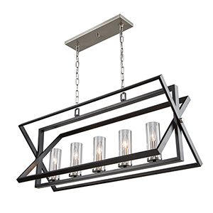 Vissini Matte Black and Polished Nickel Five-Light Pendant