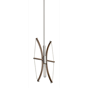 Arco Faux Wood and Brushed Nickel One-Light Pendant