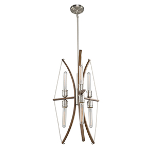 Arco Faux Wood and Brushed Nickel Six-Light Chandelier