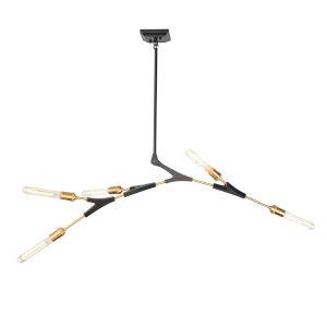 Filiali Black and Harvest Brass Five-Light Chandelier