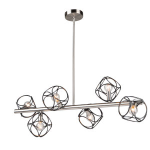 Sorrento Matte Black and Satin Nickel Six-Light Island Pendant