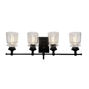 Castara Black and Brass Four-Light Bath Vanity