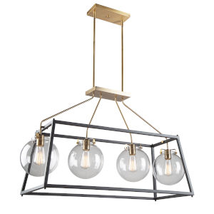 Bridgetown Black and Harvest Brass Four-Light Island Pendant