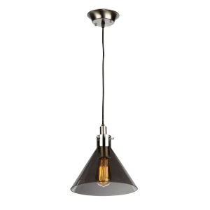 Single Satin Nickel and Polished Brass 10-Inch One-Light Mini Pendant with Smoke Glass