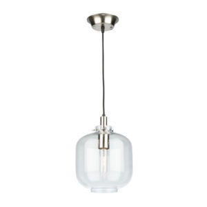 Single Satin Nickel and Polished Brass 12-Inch One-Light Mini Pendant
