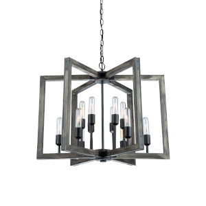 Gatehouse Beach Wood and Black 12-Light Chandelier