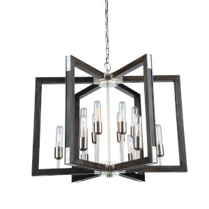 Gatehouse Dark Pine and Brushed Nickel 12-Light Chandelier