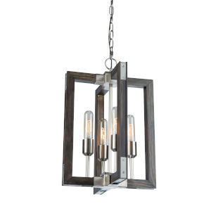 Gatehouse Dark Pine and Brushed Nickel Four-Light Chandelier