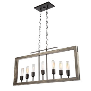 Gatehouse Beach Wood and Black Seven-Light Island Pendant