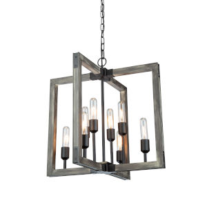 Gatehouse Beach Wood and Black Eight-Light Chandelier