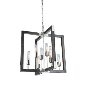 Gatehouse Dark Pine and Brushed Nickel Eight-Light Chandelier