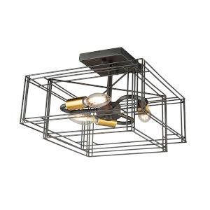 Artisan Black and Brushed Brass Three-Light Semi-Flush Mount