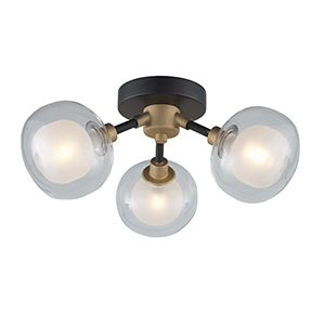 Grappolo Matte Black and Vintage Gold Three-Light LED Flush Mount
