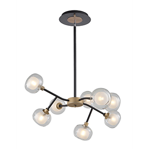 Grappolo Matte Black and Vintage Gold Eight-Light LED Chandelier