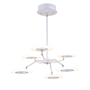 Phoenix White Six-Light LED Chandelier