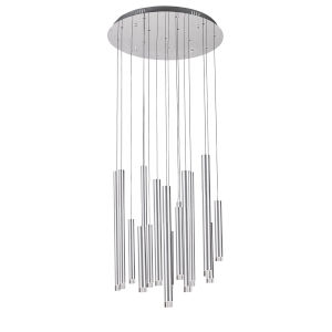 Galiano Satin Aluminum 15-Light LED Chandelier