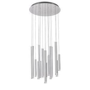 Galiano Satin Aluminum 15-Light LED Chandelier