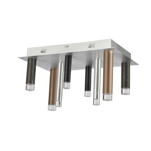Galiano Black, Copper and Satin Aluminum Eight-Light LED Flush Mount