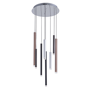 Galiano Black, Copper and Satin Aluminum Eight-Light LED Chandelier