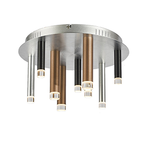 Galiano Black, Copper and Satin Aluminum Nine-Light LED Flush Mount