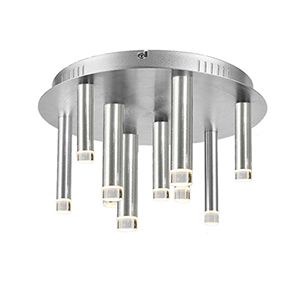 Galiano Satin Aluminum Nine-Light LED Flush Mount