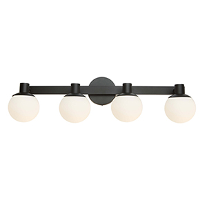 Tilbury Semi Gloss Black Four-Light LED Wall Sconce