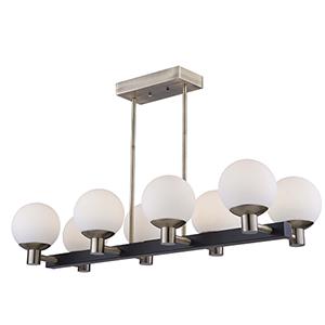 Tilbury Matte Black and Brass Eight-Light LED Pendant