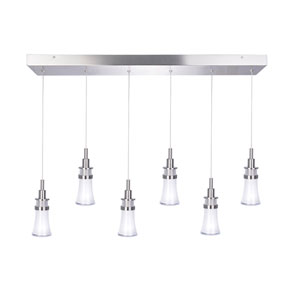 Destiny Polished Nickel Six-Light LED Island Pendant