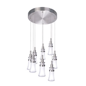 Destiny Polished Nickel Eight-Light LED Chandelier