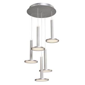 Aurora Brushed Aluminum Five-Light LED Chandelier